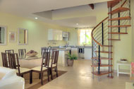 Dining room and kitchen, Las Olas Residence, luxury rental in Las Terrenas