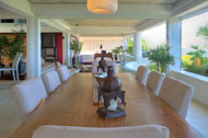Indoor dining room, living room, second floor, Casa Phil, luxury rental in Las Terrenas