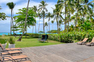 Exterior view, garden and sea view, Las Olas Residence, luxury rental in Las Terrenas