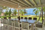Dining room exterior with sea view, Villa Ocean Lodge, Los Nomadas, beachfront