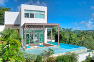 View exterior loma and Golf, swimming pool and living room, Villa White Sand, Las Terrenas