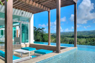 View exterior swimming pool and living room, Villa White Sand, Las Terrenas